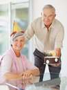 Happy senior  couple celebrating  a birthday Stock Photography