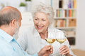 Happy senior couple celebrating clinking their glasses of white wine and smiling at each other as they sit together on a sofa Royalty Free Stock Photos