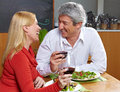 Happy senior couple dining Stock Images
