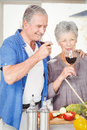 Happy senior couple drinking red wine while standing in kitchen Royalty Free Stock Photo