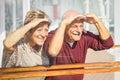 Happy senior couple having fun looking to future travels Royalty Free Stock Photo