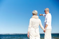 Happy senior couple on summer beach Royalty Free Stock Photo