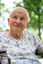 Happy senior lady in wheelchair Stock Photography