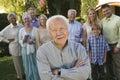 Happy Senior Man With Hands Folded Royalty Free Stock Photos