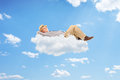 Happy senior man lying on cloud clouds Royalty Free Stock Photo