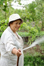 Happy senior woman hoses the garden Royalty Free Stock Images