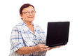 Happy senior woman with laptop Stock Images