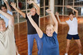 Happy seniors dancing to music Stock Photo