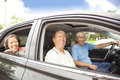 Happy seniors enjoying road trip Royalty Free Stock Photo