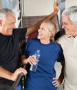 Happy seniors in gym Royalty Free Stock Photo