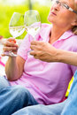 Happy seniors having picnic drinking wine senior couple of man and woman on summer meadow in vineyard Stock Photography
