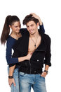 Happy sensual young couple playing Stock Photography