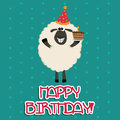 Happy sheep with a cake celebrating a birthday party Stock Photos