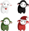 Happy sheep mascots four really cute in one vector nice illustrations for presentations commercials advertisements avatars Royalty Free Stock Photo