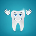 Happy shiny tooth hands raised looking up on blue background Royalty Free Stock Photography