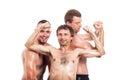 Happy shirtless sportsmen posing Royalty Free Stock Photo