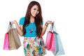 Happy shopping girl with many shoping bag Royalty Free Stock Photo