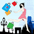 Happy shopping in paris vector illustration jumping girl with bags Royalty Free Stock Photo