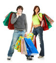Happy shopping people Stock Images