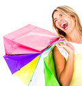 Happy shopping woman Stock Photos