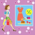 Happy shopping woman illustration of with bags Royalty Free Stock Photo