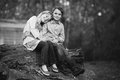 Happy siblings boy and girl smiling happily Stock Images
