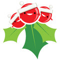 Happy simple cartoon smiling christmas mistletoe santa claus cha character vector decorative red and green ornament Stock Image
