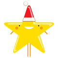 Happy simple cartoon smiling christmas star santa claus characte vector character with hat Royalty Free Stock Photos