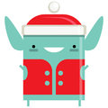 Happy simple smiling elf santa claus cartoon character with hat and red vest Stock Photography