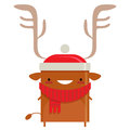 Happy simple smiling santa claus reindeer cartoon character in santas suit Stock Photography