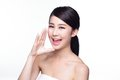 Happy skin care woman talk to you attractive with health she is isolated on white background asian beauty Royalty Free Stock Photos