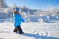 Happy small child the boy on walk in the winter in park Royalty Free Stock Photo