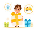 Happy smile boy child kid and big gift box Royalty Free Stock Photo