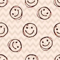 Happy smile chocolate face, seamless patern with