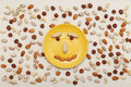 Happy smile, composition food background. Top view, flat lay Royalty Free Stock Photo