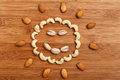 Happy smile, composition of food background. Top view, flat lay Royalty Free Stock Photo