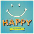 Happy and smile face retro poster illustratiom eps Stock Images