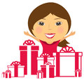 Happy smile girl with many gift box background cartoon Stock Photography