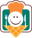 Happy smiley chef face with fork and knife Stock Photo