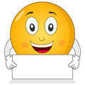 Happy smiley emoticon with blank sign a cute cartoon character holding a banner and smiling isolated on white background eps file Royalty Free Stock Images