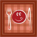 Happy smiley face with fork and knife Royalty Free Stock Photos