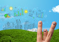 Happy smiley fingers looking at hand drawn urban city landscape cheerful Stock Image
