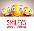 Happy smileys funny vector background with different smile