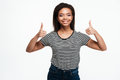 Happy smiling afro american woman showing two thumbs up Royalty Free Stock Photo