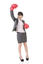 Happy smiling asian business woman with red boxing glove full length portrait isolated on the white background Royalty Free Stock Photos