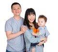 Happy smiling asian family isolated on white Stock Photo