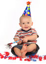 Happy Smiling Baby Boy Celebrating His Birthday Stock Photos