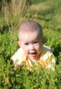 Happy smiling baby in grass Stock Photography