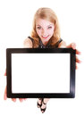 Happy smiling blond girl showing ipad tablet touchpad blank space white copyspace modern young woman holding technology Stock Photography