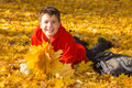 Happy smiling boy with autumn leaves caucasian maple lying on a sunny day in the park Stock Photography